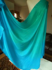 Silk Belly Dance Veil Half Circle, 8mm Turquoise and Green Blend