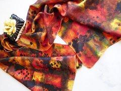 Hand Painted Silk Scarf Ink Blot Plaid