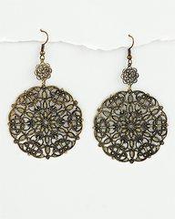 Mandala Earrings in Burnished Gold Tone Filigree.