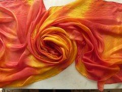 Silk Bellydance Veil Red and Yellow 3 yard 5mm