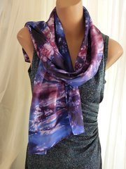Large Silk Scarf Tie Dyed Blue Burgundy and White Silk Scarf