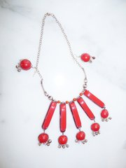 Silver and Red Tribal Necklace and Earrings set