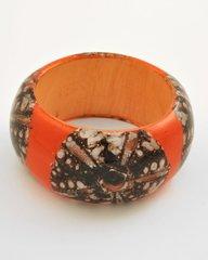 Orange Wood Bangle Bracelet