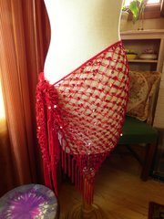 Sequin Triangle Scarf with Fringe
