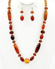 Long Single Strand Stone and Glass Crystal Necklace and Earring Set