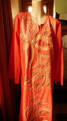 Long Sleeved Orange Cotton Caftan with Embroidery