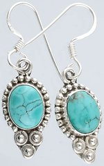 Turquoise and 925 Silver Earrings