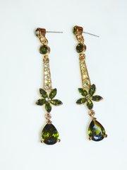 Olive Green Rhinestone Flower Earrings