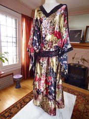 Satin Caftan Kimono Sleeves /Sequin Trim/Red, Black and Creamy Gold with sequin sash