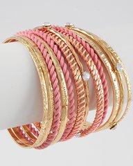 Pink and Gold Stackable Bangles Bracelet
