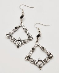 Antique Silver Tone and Rhinestone Earrings