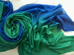 Silk Belly Dance Veil 5mm 3+yard Blue Green Wave