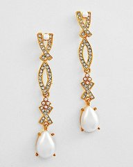 Long Pearl and Rhinestone Post Earrings