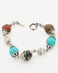 Antique Silver Tone Bracelet with Turquoise and Jasper Stones