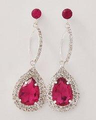 Deep Pink Tear Drop Earrings