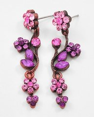 Copper Tone with Pink Rhinestones in a Flower Design Post Earrings