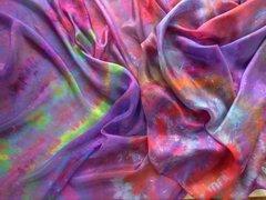 Silk Bellydance Veil Multi colored Ice Dyed