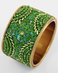 Green Seed Bead and Sequin Cuff Brcelet