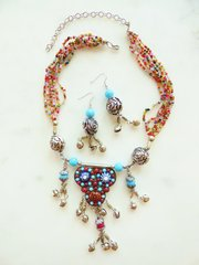 Multi Strand Tribal necklace and Earrings Set