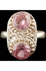 Pink Cubic Zirconia and sterling Silver Ring