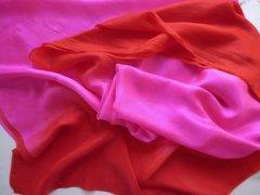 Silk Bellydance veil Bright Pink and Red-Orange