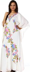 Egyptian Cotton Caftan with Embroidery