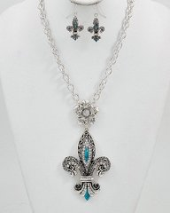 Turquoise and Antiqued Silver Fleur DeLis necklace and Earrings set
