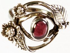 Sterling Silver Ring with Garnet and Two Blooming Flowers