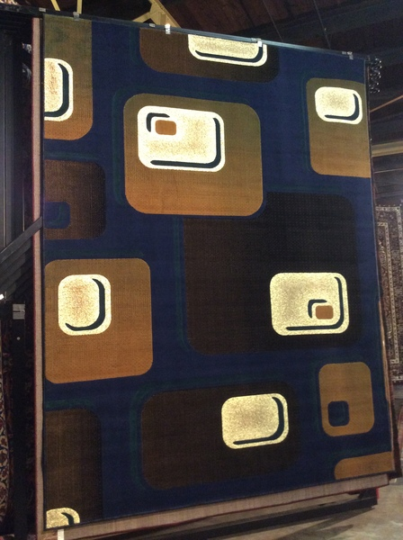 Blue and Squares 8x11 Machinemade Rug