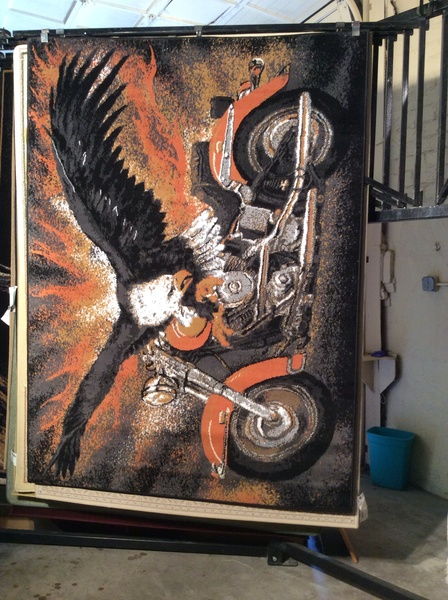 Harley Davidson 5x8 machine-made rug