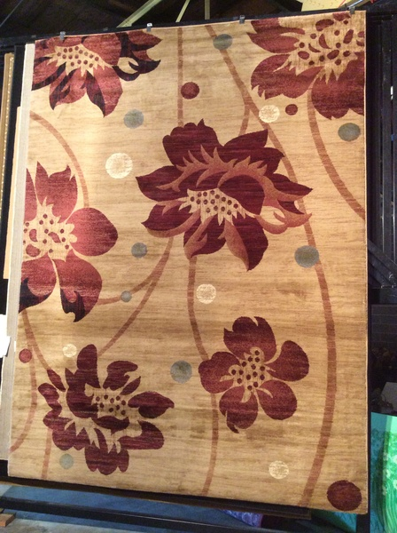 Floral print transitional 8x11 machine made rug