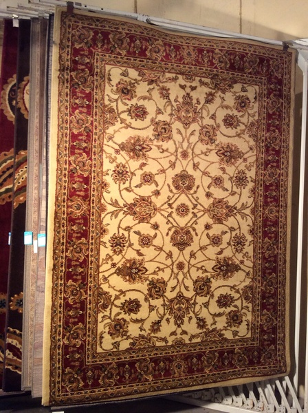 Creme and red traditional persian design 5x8 rug