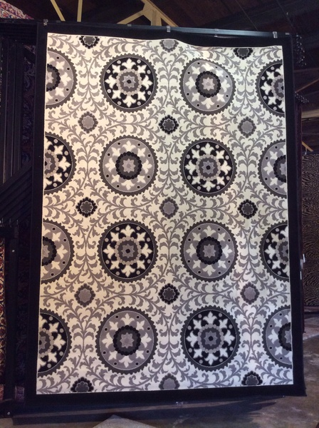 Black and white transitional 8x11 machine made rug