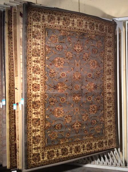 Blue gray persian design 5x8 machine made rug