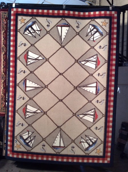 Sailboats 5x8 machine-made rug