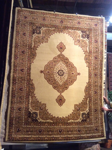 Creme Persian Kerman design 8x11 machine made rug.sol out
