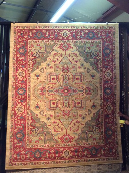 Gold and Rust Antique Persian Pattern 8x11 Machinemade Rug
