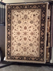 Black and creme Esfahan persian design 5x8 machine-made