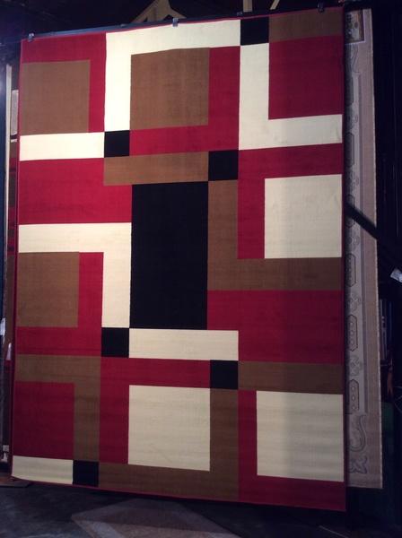 3-D 8x11 machine made multi color rug