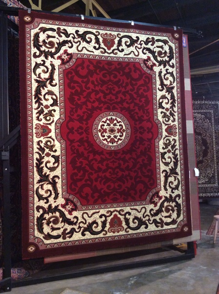 Red French Aubusson style machine-made rug
