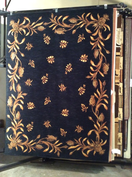 Tommy Bahama Navy pineapples 5x8 machine-made rug.sold out