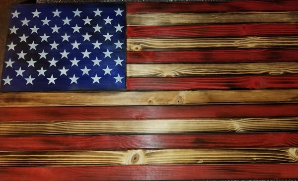 Burnt American Red White And Blue Large Concealment Flag