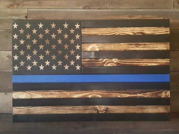 Burnt Thin Line Large Flag Wooden American Flag Weapon