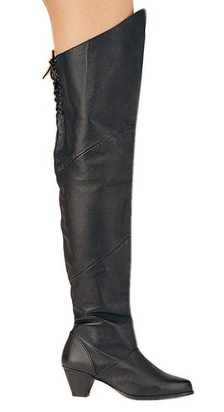 Black Pig Leather, Thigh High Boots (Item#:p-maiden-8828)