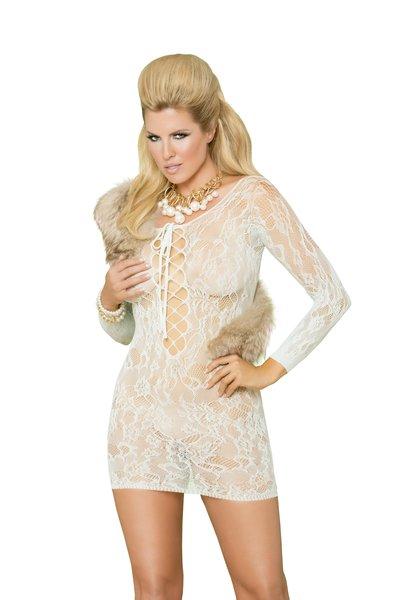 Long Sleeve Lace Mini Dress (Item#:88-em-055)