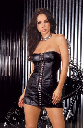 Strapless Leather Dress (Item#:L81-em13)
