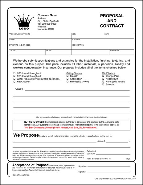 Drywall Proposal & Contract | One Stop Printers & Direct Mail Service