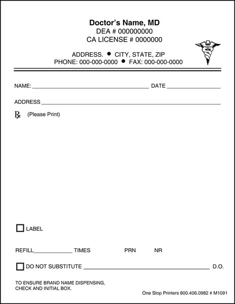 Doctor 39 s rx pads slips with docugard m1091 one stop for Prescription pad template download