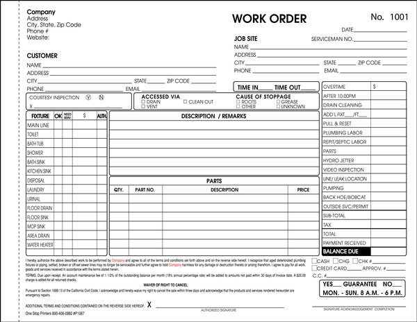 Plumbing Drain Cleaning and Septic System Invoice – Plumbing Invoice