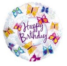 Happy Birthday Butterfly Mylar Balloon